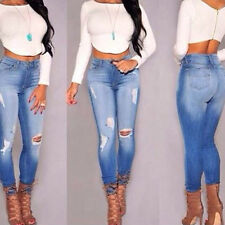 Sexy Women Denim Jeans Girls Distressed Jeggings Ladies Stretch Pencil Pants hot