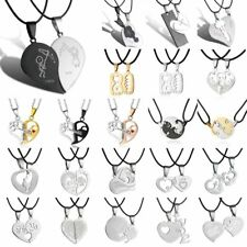 2pcs FASHION STAINLESS STEEL HIS&HERS COUPLE HEART PROMISE LOVE NECKLACE PENDANT