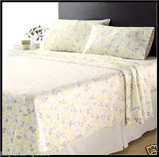 YELLOW & WHITE LEAVES Floral HEAVY Weight Brushed Cotton FLANNEL Sheet Set *NEW*