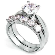 Sterling Silver Wedding set size 8 CZ Round cut Engagement Ring Bridal New w93