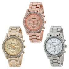 Faux Chronograph Quartz Plated Classic Round Ladies Women Crystals Watch Stylish