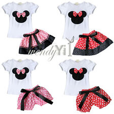 Baby Girls Minnie Mouse Bow T Shirt Top +Skirt Bloomer Pants Dress Up Outfit Set