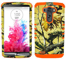 Orange Yellow Hunter Series Camo Impact Armor Hard Cover Case for LG Optimus G3