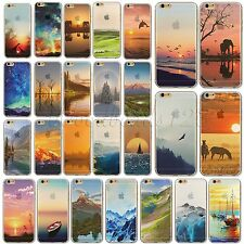 Thin TPU Semi-Transparent Case Cover For iPhone 4S 5S 6 6Plus Mountain Printed