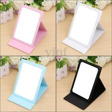 Cosmetic Makeup Folding Pocket Mirror Stand Compact Travel Portable PU Leather