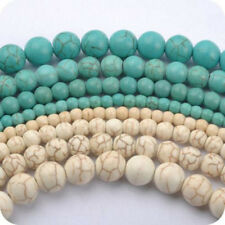 20-100Pcs Howlite White/Blue Turquoise Gemstone Round Loose Bead 4-10mm Hole 1mm