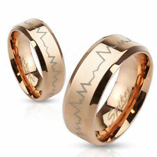 Rose Gold Stainless Steel Laser Heartbeat Wedding Band Ring 5-13