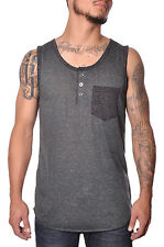 Two Tone Mens Summer Sleeveless Broken Threads Casual Quality Henley Tank Top