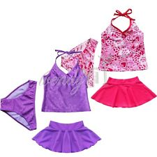 Girl Kid Tankini Set Halter Top+Shorts+Skirt Swimsuit Swimwear Swim Bathing Suit