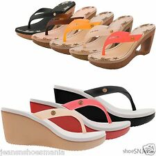 New Women Fashion Flip Flop Jelly Shoes Wedge Heel Platform Beach Thong Sandals