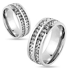 Stainless Steel 2.16 Carat CZ Eternity Wedding Band Ring Size 5-13