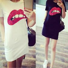 Slim Women's Sequins Lip T-Shirt Casual Mini Dress Short Sleeve Long Tops Shirt