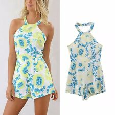 New Womens Ladies Sexy Summer Floral Print Celeb Party Short Jumpsuits Rompers