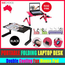 Portable Folding Laptop Tablet Notebook Stand Table Desk Top Double Cooling Fan