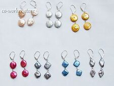variations color button  freshwater pearl dangle s925 earringLeverback