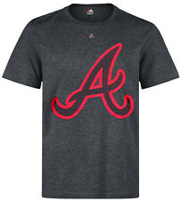 MAJESTIC MLB ATLANTA BRAVES Victory Calling Charcoal Heather Gray Logo T-Shirt