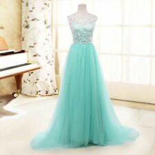 New Lady Wedding Long Dress Lace Tulle Evening Formal Gown Bridesmaid Prom Party