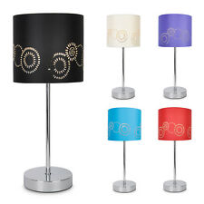 Modern Chrome Floral Shade Touch Dimmer Bedside / Lounge Table Lamp Lights Lamps