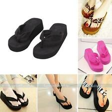 Summer Girls Beach Shoes Casual Slippers Wedge Platform Thong Flip Flops Sandals
