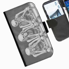 Skull Evil Leather wallet phone case for iPhone Samsung Huawei Blackberry HTC