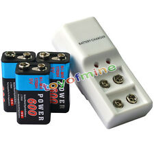 3x 9V Power Black 600mAh Ni-Mh Rechargeable Battery + Dual Batteries Charger
