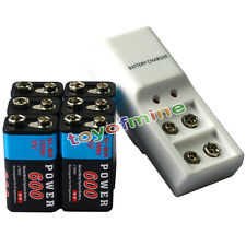6x 9V Power Black 600mAh Ni-Mh Rechargeable Battery And  Dual Batteries Charger