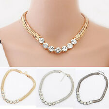 Chunky Choker Fashion Jewelry Crystal Chain Pendant Statement Bib Necklace Party