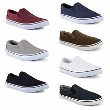 Mens Canvas Casual Flat Trainers Plimsoles Plimsolls Shoes Slip On Pumps Size