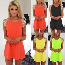 New Women Sequin Chiffon Summer Casual Prom Party Evening Cocktail Mini Dress