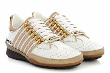 Womens DSQUARED2 Shoes 251 Sneakers K501 V065 M079 White Beige Gold Leather D2