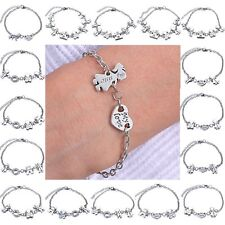 Family Friendship Mom Sister Friend & Animal Bracelet Wishes Words Charm Gift 1P