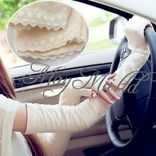 Women Sunscreen Anti UV Extra Long Lace Arm Warmers Fingerless Gloves Sleeve