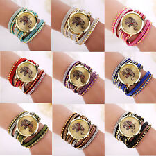 Women Girls Elephant Rivet Bracelet Quartz Braided Winding Wrap WristWatch