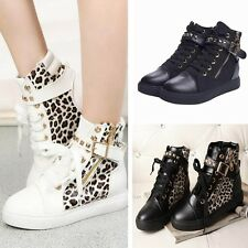 Women Leopard Ankle Boots New Hidden Wedge Sneakers Trainers Sports Shoes