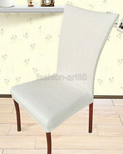 White Super Fit Stretch Removable Decor Tall Dining Room Chair Covers fhd011