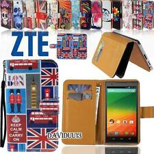 Folio Wallet Card Stand PU Leather Magnetic Case Cover For Various ZTE Phones