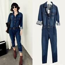 Chic New Women's jeans jumpsuit Vintage Denim Fashion Belted overalls long pants