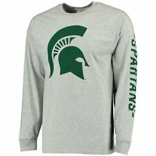 Michigan State Spartans Big Logo with Sleeve Hit Long Sleeve T-Shirt - Gray