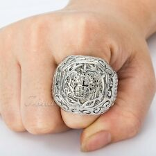Elegant Silver Tone Carved Cross Crown Boys Mens Ring 316L Stainless Steel Ring