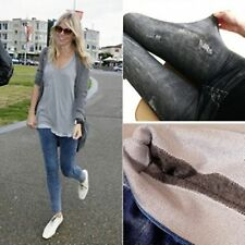 Women Lady Faux Denim Jeans look Stretchy Pencil Slim Leggings Jeggings Pants