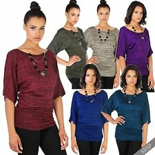 Womens Casual Short Sleeve Oversize Boat Neck Marl Print Dolman Tunic Top 4-16