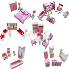 New Pink Wooden Dolls House Furniture Miniature 6 Room Set Dolls Kid Christmas