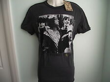 *NEW* AMPLIFIED THE STONE ROSES BAND MEMBERS B+W PRINT GREY MENS T SHIRT SIZE M