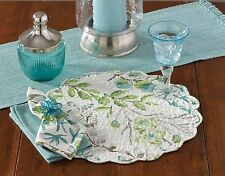 Ambrosia Aqua Round Placemat & Napkins by Park Designs, Floral on White