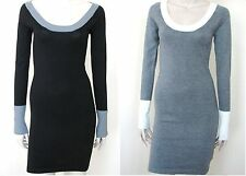 NEW GUESS JET BLACK+CHARCOAL GREY,GRAY+WHITE TRIM OBSESSION SHORT SWEATER DRESS