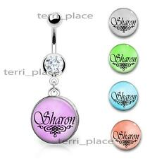 "Custom Your Name Belly Ring Navel Piercings CZ Gem Personalized 14ga 3/8"" Curve"