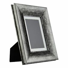 Verandah Table-top 5x7 Vintage Aged Silver Standing Picture Frame, Mat