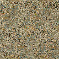 A0125A Tan Brown Teal Floral Paisley Woven Outdoor Upholstery Fabric