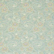 D122 Gold Pink and Blue Paisley Floral Brocade Upholstery Fabric