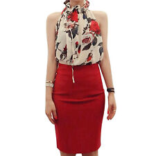Ladies Sleeveless Tie Neck Floral Print Semi Sheer Casual Chiffon Blouse